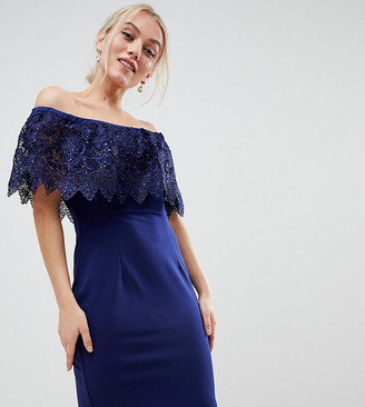 Paper Dolls Petite lace overlay bardot pencil dress in navy