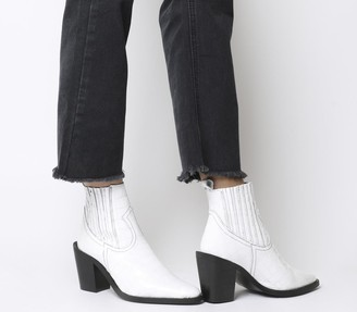 Office Analyze Western Chelsea Boots White Croc Patent Leather