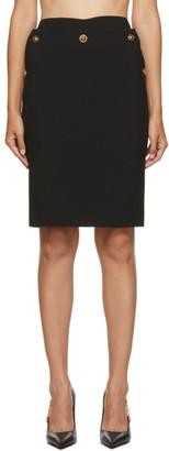 Versace Black Medusa Button Skirt