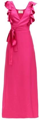 La DoubleJ Wedding Guest Ruffled Silk-twill Dress - Dark Pink
