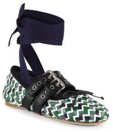 Miu Miu Belted Woven Multicolor Leather Ankle-Wrap Ballet Flats