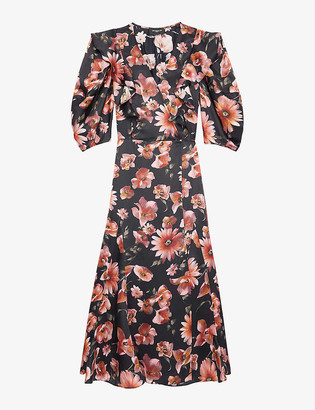 The Kooples Floral satin wrap midi dress