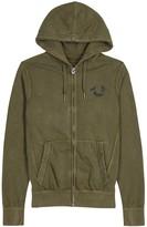 True Religion Olive Hooded Cotton Sweatshirt
