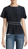 Frame Piped Short-Sleeve Peplum Silk Top, Navy