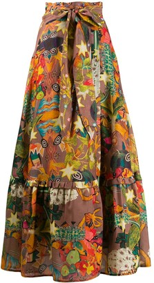 CHUFY Belted Patterned Maxi Skirt