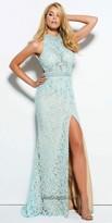 Mac Duggal Embellished Lace Halter Evening Dress