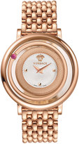 Versace Venus Round Bracelet Watch w/ Floating Red Topaz, Rose Golden/White