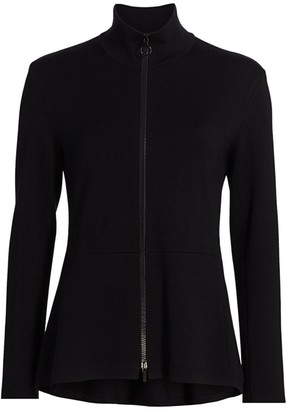 Akris Punto Drawstring Stretch-Wool Peplum Cardigan