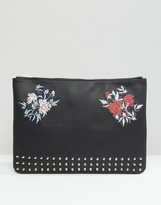 Asos Clutch Document Case With Studding & Embroidery