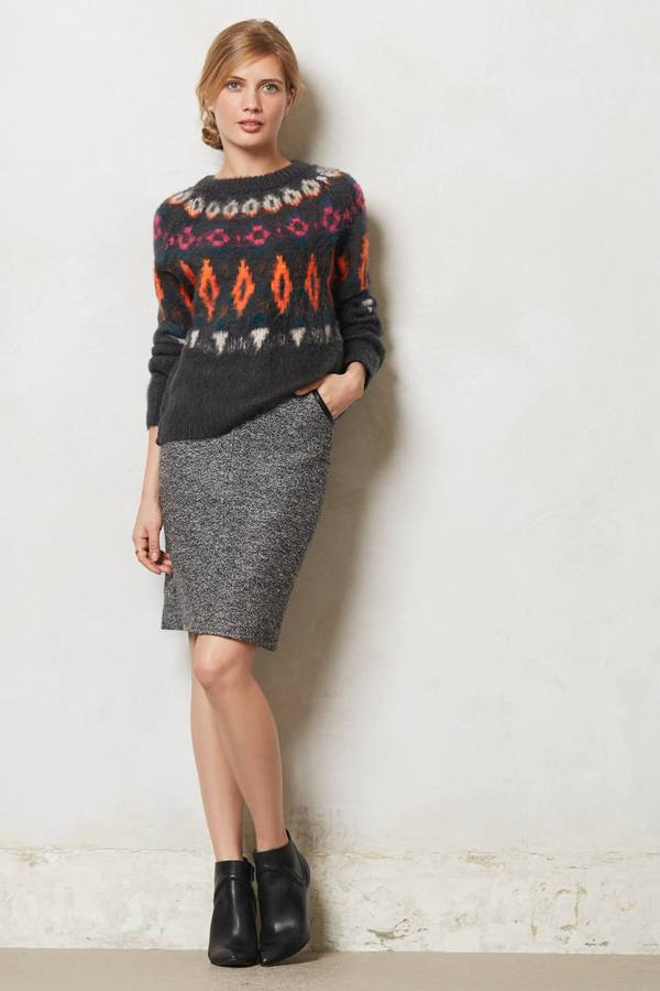 Anthropologie Boucle Pencil Skirt