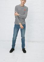 Comme des Garcons Black / White Stripe Long Sleeve Red Heart T-shirt