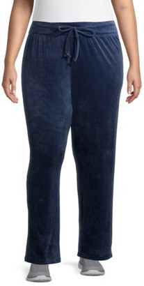 Athletic Works Women's Plus Velour Relaxed Fit Pants
