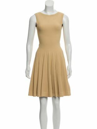 Alaia Sleeveless Fit & Flare Dress Beige
