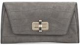 Diane von Furstenberg Women's Gallery Uptown Embossed Croc Clutch Bag Slate