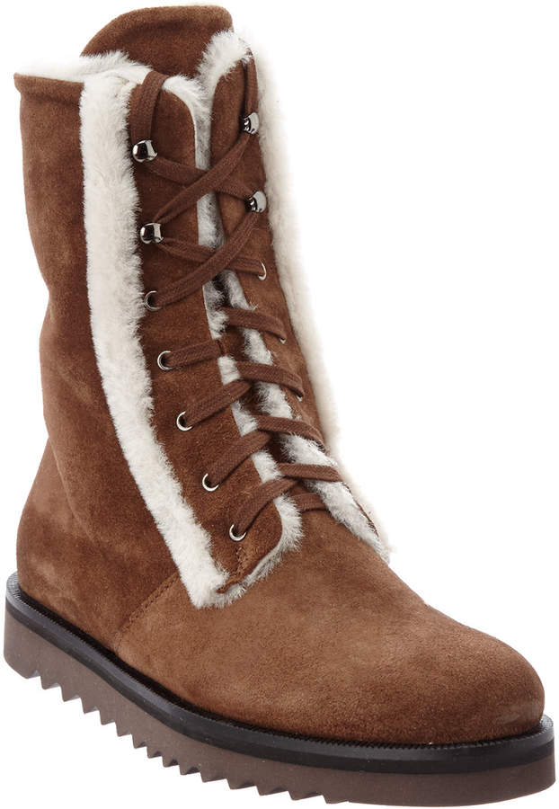Aquatalia Payton Waterproof Suede Shearling Boot