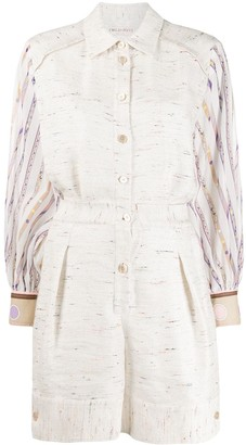 Emilio Pucci Patterned Sleeve Playsuit