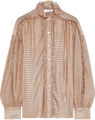 Antik Batik Aurele Ruffle-trimmed Metallic Striped Georgette Blouse