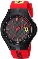 Ferrari Scuderia Men's Quartz Plastic and Silicone Casual Watch, Color:Red (Model: 0840007)