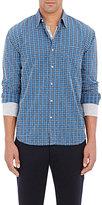Barneys New York MEN'S PLAID SHIRT-BLUE SIZE XS