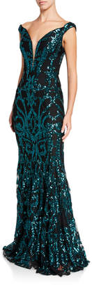 Jovani Off-the-Shoulder Sequin Embellished Gown