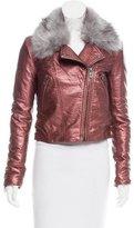 Blank NYC Faux Fur-Trimmed Biker Jacket