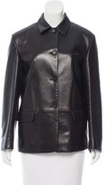 Prada Leather Pointed Collar Jacket