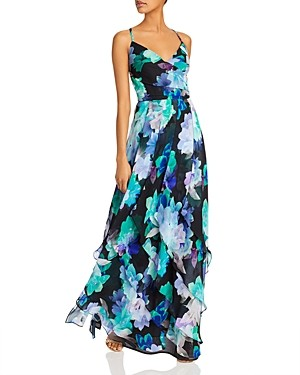 Aqua Printed Chiffon Gown - 100% Exclusive