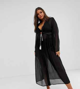 Brave Soul Plus sheer beach dress with tassel tie front-Black