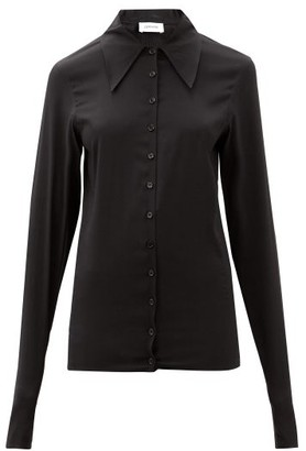 Lemaire Point-collar Silk-blend Crepe Shirt - Black