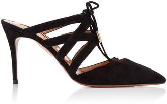 Aquazzura Belgravia Point-Toe Lace-Up Leather Sandals