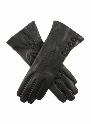 Dents Evelyn Women's Cashmere Lined Leather Gloves BLACK (Red) 7