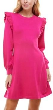 Crystal Doll Juniors' Ruffled A-Line Sweater Dress