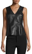 Rebecca Taylor Faux-Leather Shell, Black