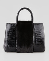 Nancy Gonzalez Small Mink Fur-Stripe Crocodile Tote Bag, Black