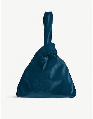 LK Bennett Taylor knot velvet clutch bag