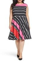 Tahari Plus Size Women's Stripe Fit & Flare Dress