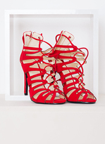 Missy Empire Kristen Red Suede Lace Up Heels