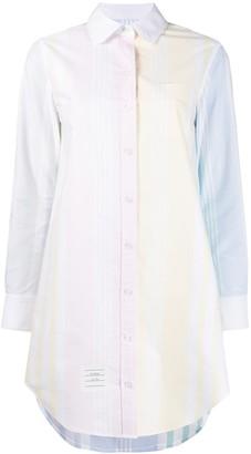 Thom Browne 4-Bar Stripe Fun-Mix Thigh-Length Shirtdress
