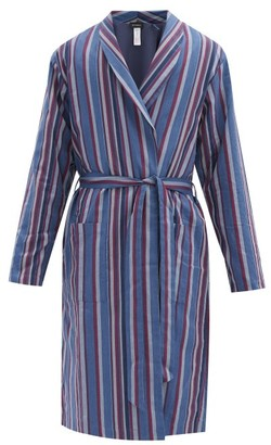 Hanro Striped Cotton-blend Twill Bathrobe - Blue Multi