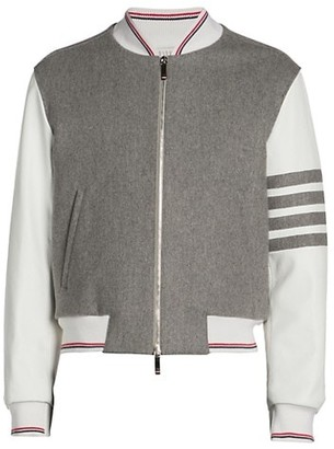 Thom Browne Bar Striped Fleece Wool & Leather Blouson Jacket