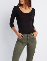 Charlotte Russe Scoop Neck Wrap-Back Bodysuit