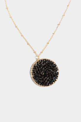 francesca's Aniyah Woven Beaded Circle Pendant Necklace - Black