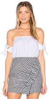 J.o.a. Off The Shoulder Knot Tie Sleeve Top