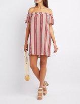 Charlotte Russe Striped Off-The-Shoulder Shirt Dress