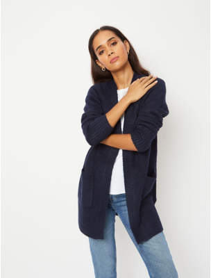 George Navy Longline Open Front Cardigan