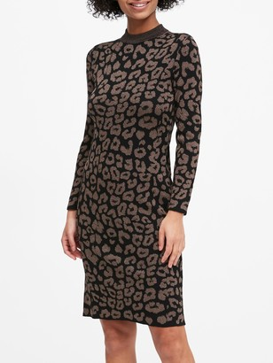 Banana Republic Petite Metallic Leopard Sweater Dress