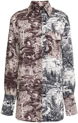 Victoria Victoria Beckham Paneled Printed Twill Shirt