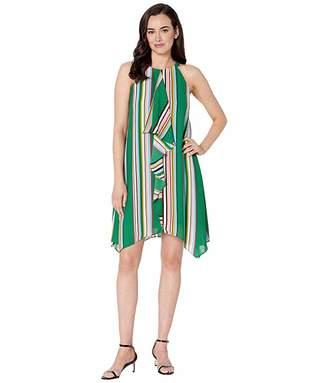 Adrianna Papell Printed Stripe Halter Dress with Asymmetric Drape