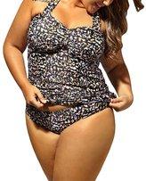 Eiffel Store Eiffel Women's Plus Size Leopard Peekaboo Cross Strap Halter Monokini Tankinis Bikini