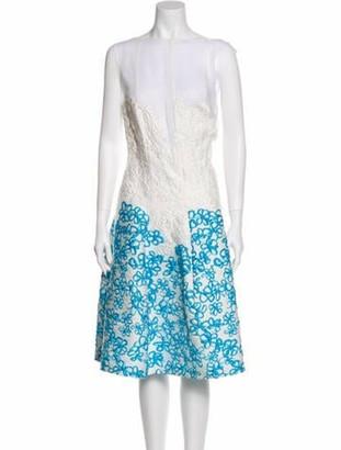 Talbot Runhof Floral Print Midi Length Dress White